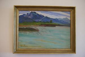 Ein Bild von Julius Exter zeigt die Kampenwand, der höchste Berg der Region