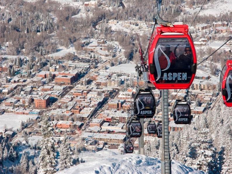 Aspen -  Blick auf die Stadt von Silver Queen Gondola