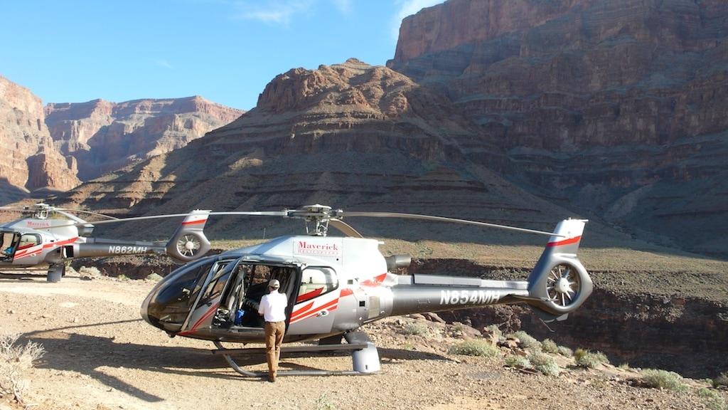 Grand Canyon -Landeplatz von Maverick Hubschrauber