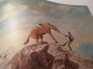 John Turnbell Thomson (1821-1884) zeigt das Erreichen eines Gipfels mit einem Pferd.