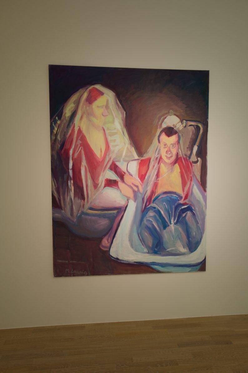 Mentales Gelb- Maria Lassnig - Die Braut badet den Bräutigam