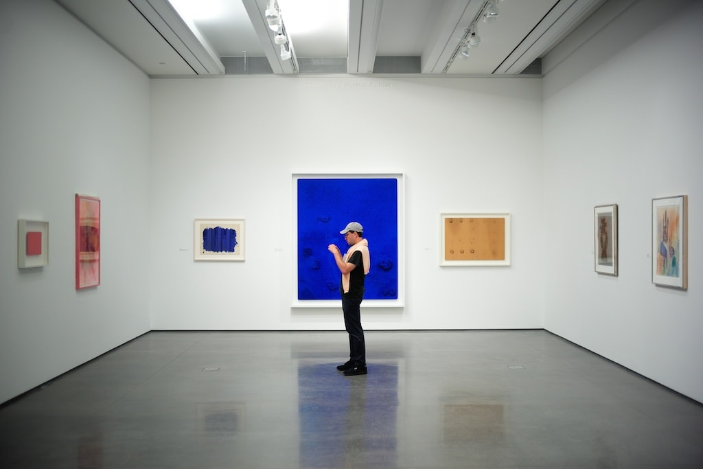The exhibition of Yves Klein and his famous blue paintings at the Aspen Art Museum.