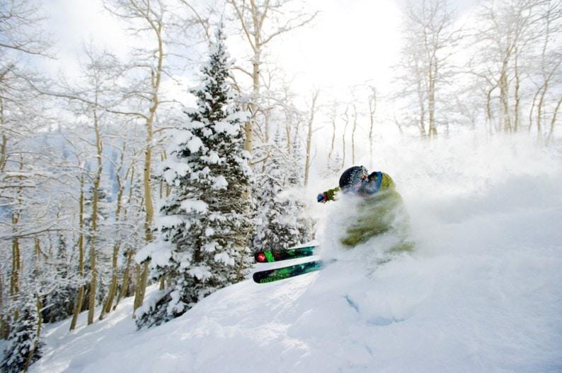 Pat Sewell skiing on Aspen Mountain, Aspen, Colorado