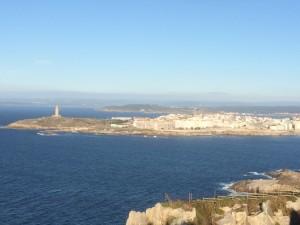 Blick von Monte San Pedro auf die Halbinsel von La Coruna