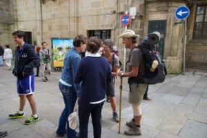 Immer gibt es Pilger in Santiago de Compostela