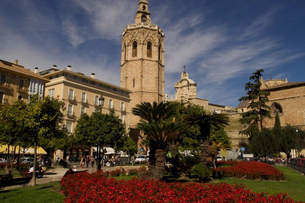 Im Februar blüht es auf der Plaza de al Reina.