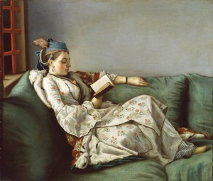 Jean-Etienne Liotard - Woman on a Sofa reading  Foto Exsoprintendenza Speciale  Florenz
